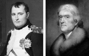 Left: Jacque-Lewis David, the Emperor Napoleon in His Study at the Tuileries (1812) - National Gallery of Art. Right: Rembrandt Peale, Thomas Jefferson (1805) - New York Historical Society.